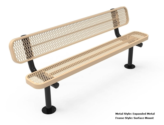 ELITE Series 4 Foot Rectangular Thermoplastic Metal Bench with Back ...