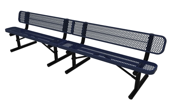 Elite Series 10 Foot Rectangular Thermoplastic Metal Bench With Back