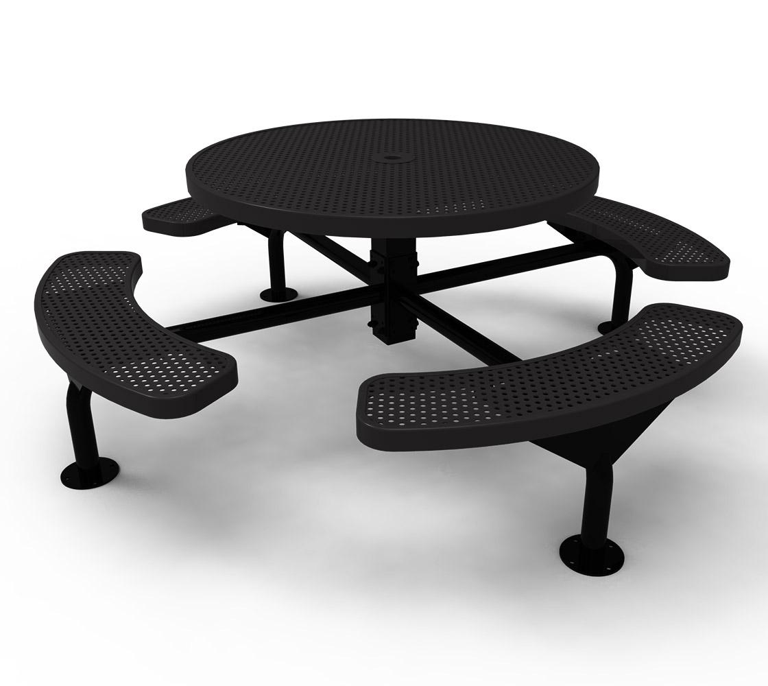 ELITE Series Nexus Round Thermoplastic Steel Picnic Table - White round picnic table