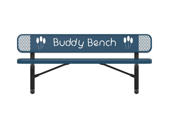 ELITE Series 4 Foot Rectangular Thermoplastic Buddy Bench With Back