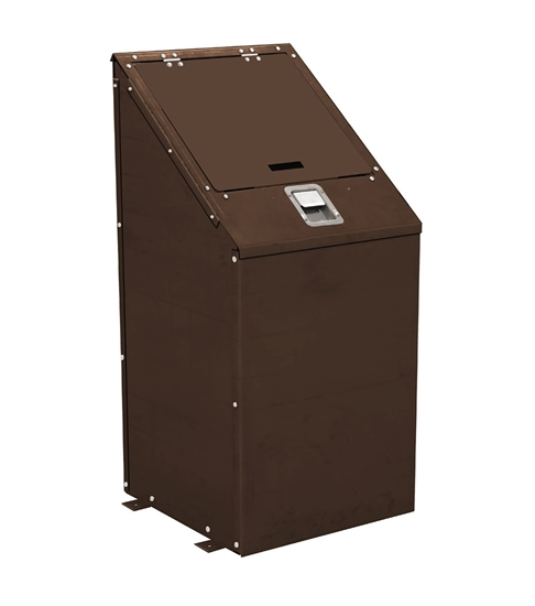 32 Gallon Square Bear Proof Trash Can - Plastic Coated Metal - Surface Mount