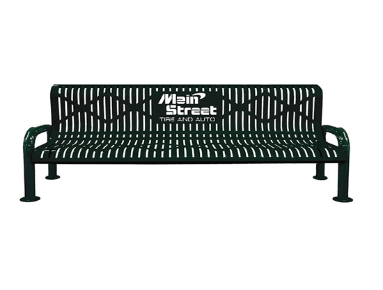 8 ft. Custom Rolled Formed Diamond Contour Bench with U-Legs - Plastic Coated Steel - Portable or Surface Mount