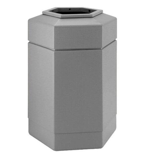 30 Gallon Plastic Trash Receptacle - Hexagon Design