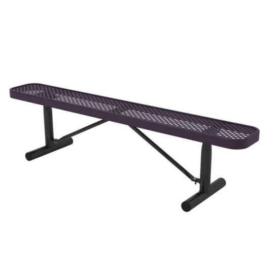 6 ft. Bench without Back - Thermoplastic Coated Steel - Perforated