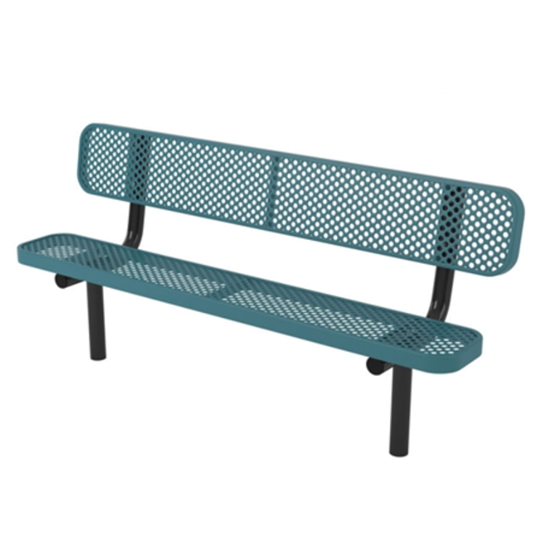 6 ft. Bench without Back - Thermoplastic Coated Steel - Perforated Style
