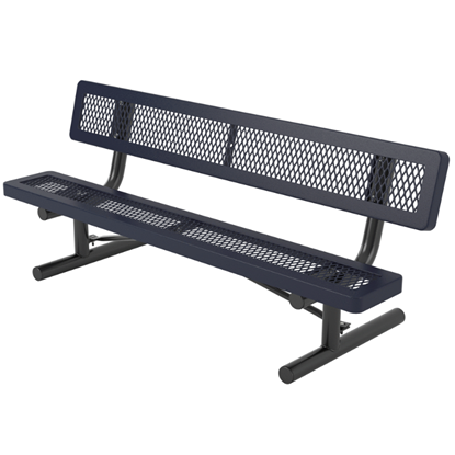 Child's 6 ft. Bench with Back - Thermoplastic Coated Steel