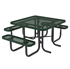 Square Thermoplastic Metal Picnic Table - 3 Seats - Ultra Leisure Style