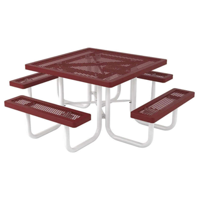 Square Thermoplastic Picnic Table - Expanded Metal
