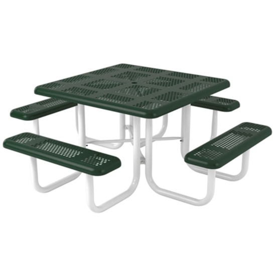 Square Thermoplastic Picnic Table - Perforated Metal