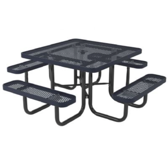Square Thermoplastic Steel Picnic Table - Perforated Style