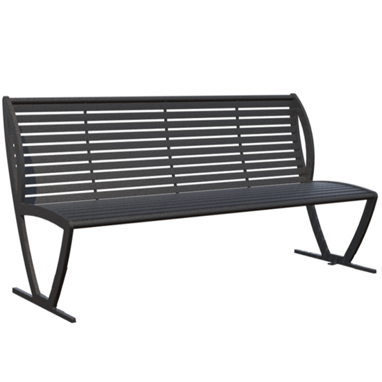 Zion 6 Ft. Powder Coated Steel Bench with Back