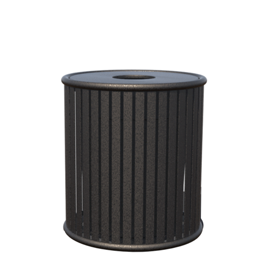 Zion 32 Gallon Powder Coated Steel Trash Receptacle with Lid