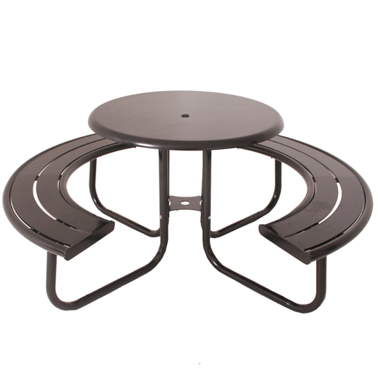 "Acadia 36"" Round Powder Coated Steel Portable Picnic Table"