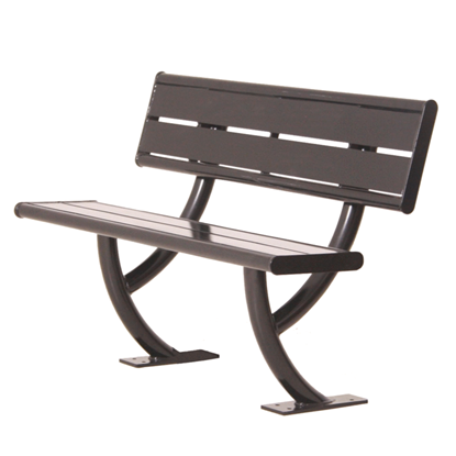 Acadia Powder Coated Steel Bench with Back