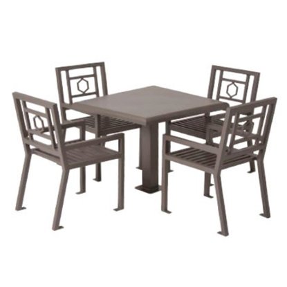 "Biscayne 36"" Powder Coated Steel Patio Table with 4 Chairs Set"