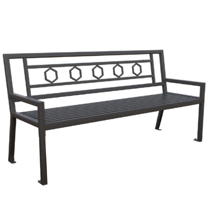 Biscayne Powder Coated Steel Bench with Back