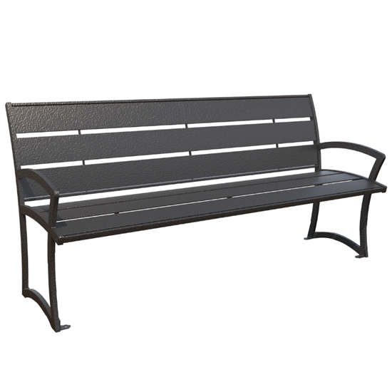 Bryce Powder Coated Steel Bench with Back