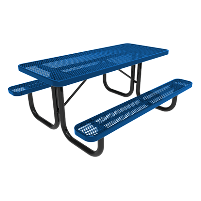 ELITE Series 6 Foot Rectangular Thermoplastic Steel Picnic Table - Quick Ship - Portable
