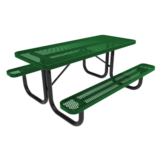 RHINO 8 Foot Rectangular Thermoplastic Steel Picnic Table - Quick Ship - Portable