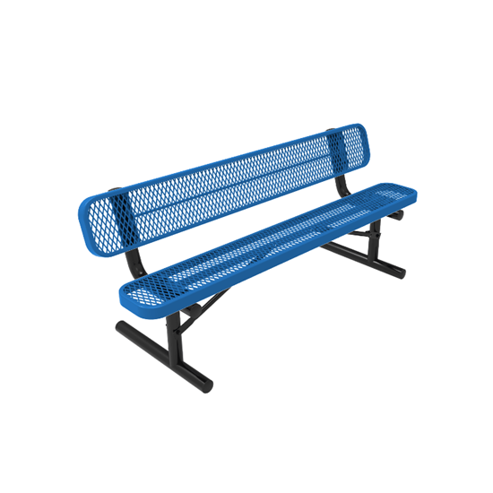 ELITE Series 8 Foot Rectangular Thermoplastic Metal Bench with Back - Quick Ship