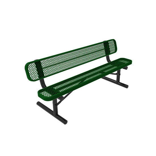 RHINO 8 Foot Rectangular Thermoplastic Metal Bench with Back - Quick Ship
