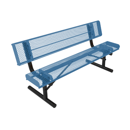 ELITE Series 4 Foot Rolled Edges Thermoplastic Metal Bench with Back - Quick Ship