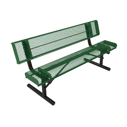 ELITE Series 6 Foot Rolled Edges Thermoplastic Metal Bench with Back - Quick Ship