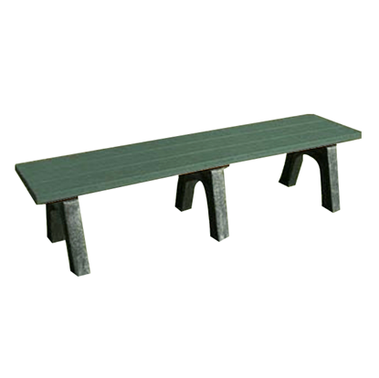6 Ft. Recycled Plastic Bench without Back - Traditional Style - Portable