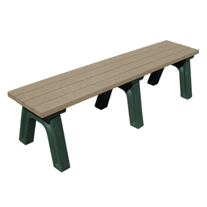 6 Ft. Recycled Plastic Bench without Back - Deluxe Style - Portable