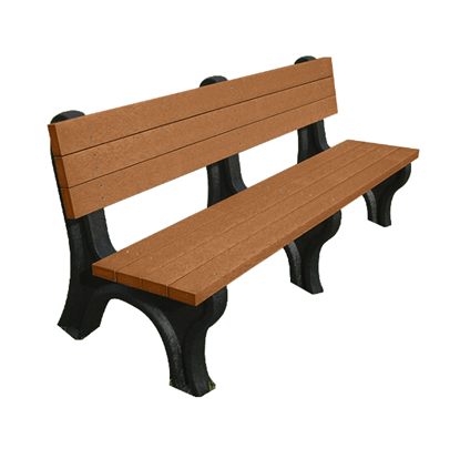 6 Ft. Recycled Plastic Bench with Back - Deluxe Style - Portable