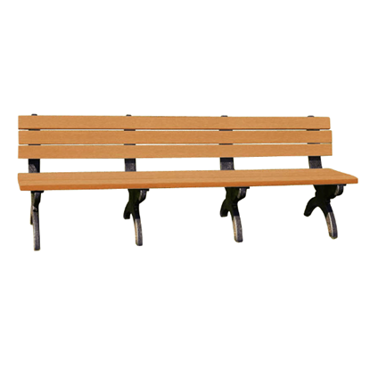8 Ft. Recycled Plastic Bench with Back - Monarque Style - Portable