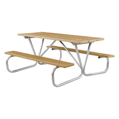 """6 ft Recycled Plastic Picnic Table - Bolted 1 5/8"""" Frame - Portable"""