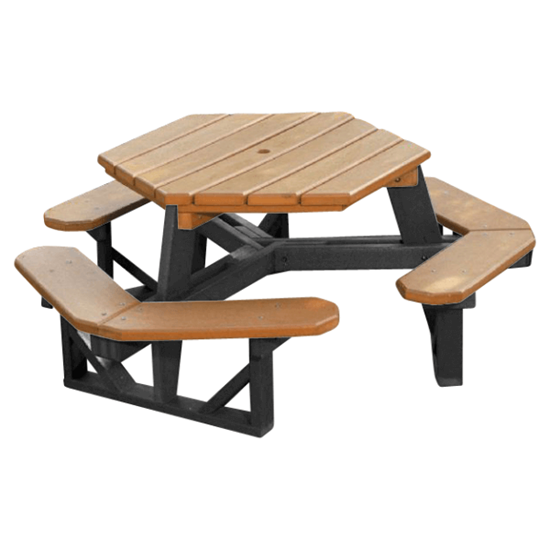 Commercial Hexagonal Recycled Plastic Picnic Table - 3 Attached Benches - Portable