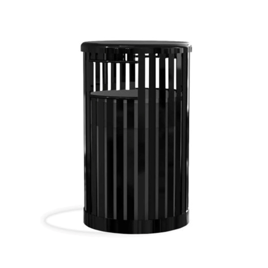 32-Gallon Trash Receptacle Steel Vertical Slats Polyethylene Finish