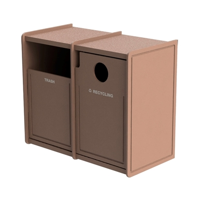 Dual 32-Gallon Side-Opening Recycling and Trash Receptacle EarthCraft Series - 168 lbs.