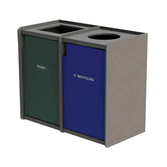 Dual 42-Gallon Side-Opening Recycling and Trash Receptacle EarthCraft Series - 168 lbs.