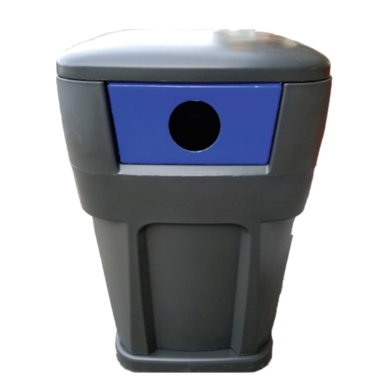 65-Gallon Recycling Receptacle Polyethylene Plastic High-Strength - 130 lbs.