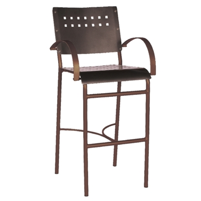 Avalon Bar Stool with Tubular Aluminum Frame for Outdoor Restaurants - 12 lbs.