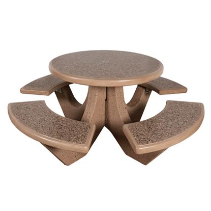 Round Commercial Concrete Picnic Table - Portable