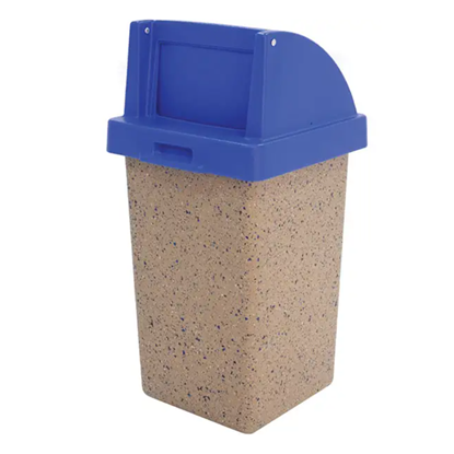 30 Gallon Concrete Trash Can - Self Closing Push Door Top - Portable