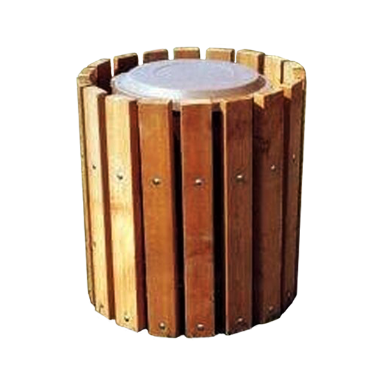32 Gallon Trash Can - Southern Yellow Pine - Receptacle