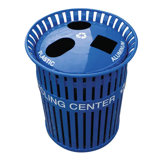 14 Gallon Recycling Center - Three Chambers - Plastic Coated Steel Strap With Spun Aluminum Top - Portable