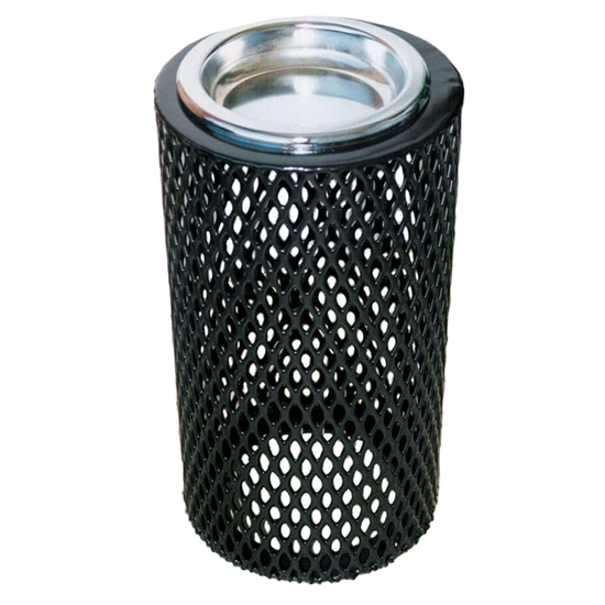Round Ash Urn - Plastic Coated Expanded Metal - Steel Tray