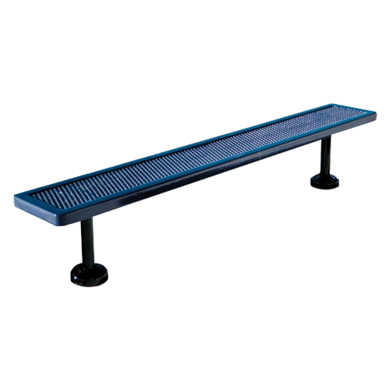 8 Ft. Bench Without Back - Thermoplastic Coated Steel - Expanded Metal - Surface Mount