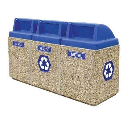 45 Gallon Three Container Recycling Center - Separate Push Door Tops - Portable