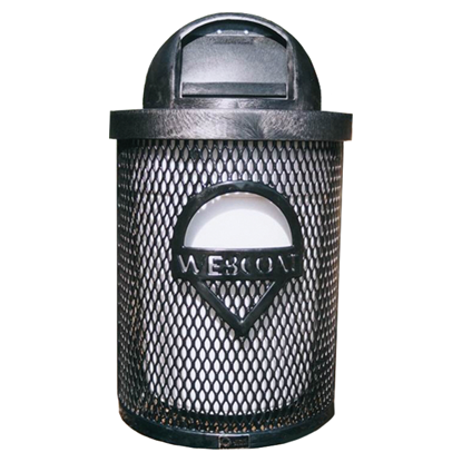 Custom Logo Perforated Trash Receptacle - 32 Gallon - Dome Top
