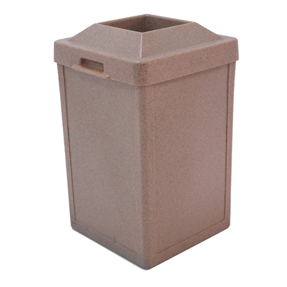 24 Gallon Trash Receptacle - Plastic With Pitch-In Top - Portable