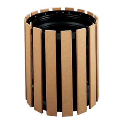 32 Gallon Recycled Plastic Circular Trash Receptacle - Portable