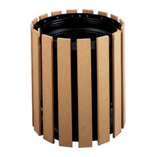32 Gallon Recycled Plastic Circular Trash Receptacle - Portable