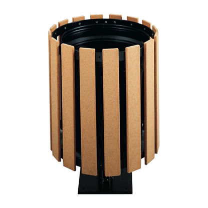 32 Gallon Recycled Plastic Circular Trash Receptacle With Pedestal Stand - Surface Mount
